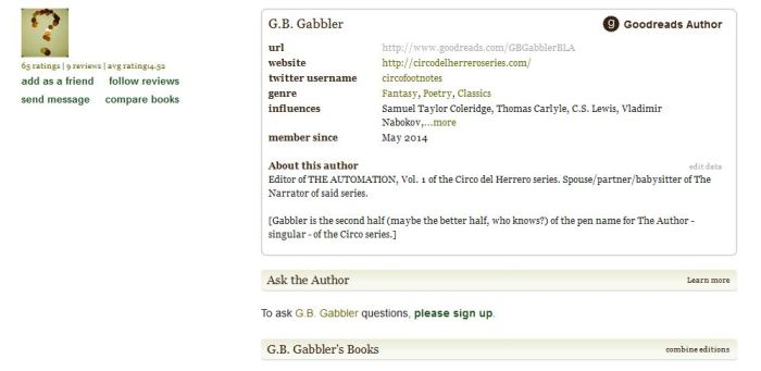 We/I have an official Goodreads author page.