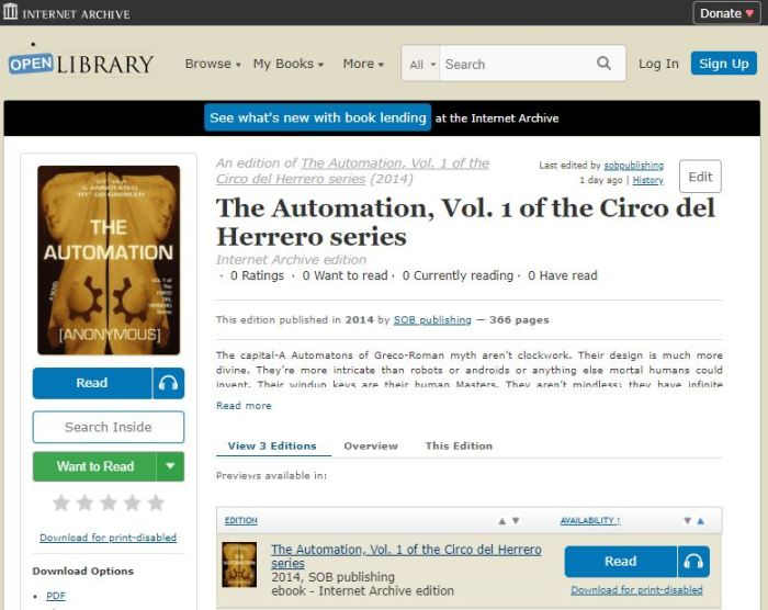 screenshot of the mythpunk book The Automation on the open library